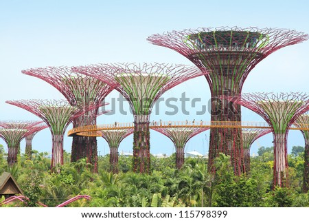 SINGAPORE-OCT 6: Day view of The Supertree Grove at Gardens by the Bay on Oct 6, 2012 in Singapore. Spanning 101 hectares, and five-minute walk from Bayfront MRT Station. - stock photo