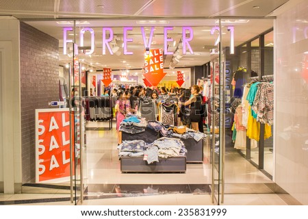21 Store at ION Orchard shopping mall on October 19, 2014. Forever 21 ...