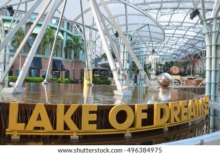 SINGAPORE - 02 OCT, 2016: Sentosa island Singapore. Lake of Dreams is spectacular at Resorts World Sentosa, integrating sound and light effects, pyrotechnics and water.