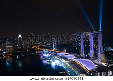 SINGAPORE, 1 OCTOBER 2016: Aerial view of Marina bay during Wonder full - Light and water show, the largest laser show in Southeast Asia