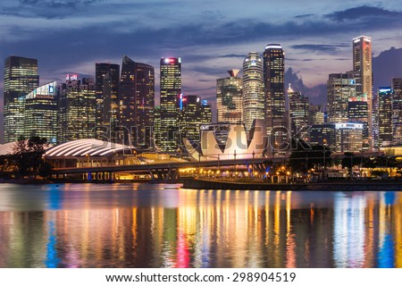 SINGAPORE - OCTOBER 16, 2014: ArtScience Museum is one of the attractions at Marina Bay Sands, an integrated resort in Singapore.  - stock photo