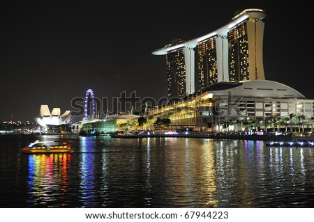 SINGAPORE - OCTOBER 31: Asia's First Sustainable Light Art Festival at Marina Bay October 31, 2010 in Singapore. - stock photo