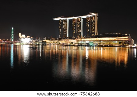 SINGAPORE - OCTOBER 30: Asia's First Sustainable Light Art Festival at Marina Bay October 30, 2010 in Singapore. The festival aims to celebrate the nightscape with the use of energy-efficient lighting. - stock photo