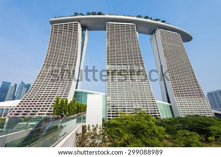 SINGAPORE - OCTOBER 18, 2014: Marina Bay Sands is an Integrated Resort fronting Marina Bay in Singapore.