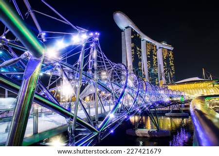 SINGAPORE - October 28: Marina Bay Sands Resort Hotel and the Helix - stock photo