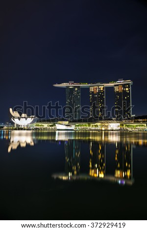 SINGAPORE - OCTOBER 31: Overview of the marina bay with the Marina Bay Sands on October 31, 2015 in Singapore.