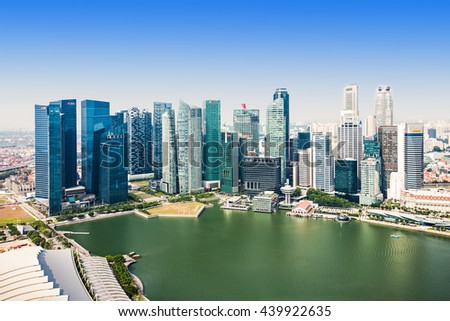 SINGAPORE - OCTOBER 18, 2014: Singapore aerial view from Marina Bay Sands Skypark.