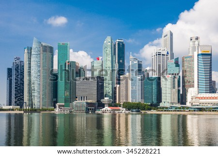 SINGAPORE - OCTOBER 17, 2014: Singapore city skyline.