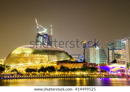 SINGAPORE - OCTOBER - 10: The  Marina Bay in center city at night october 10, 2014 in Singapore. - stock photo