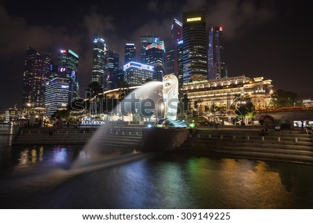 SINGAPORE - OCTOBER 16, 2014: The Merlion is a traditional creature in western heraldry that depicts a creature with a lion's head and a body  of a fish.