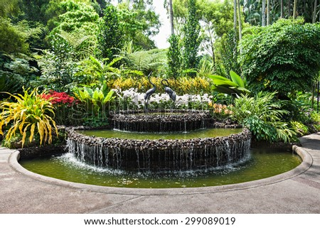 SINGAPORE - OCTOBER 17, 2014: The National Orchid Garden, located within the Singapore Botanic Gardens. - stock photo
