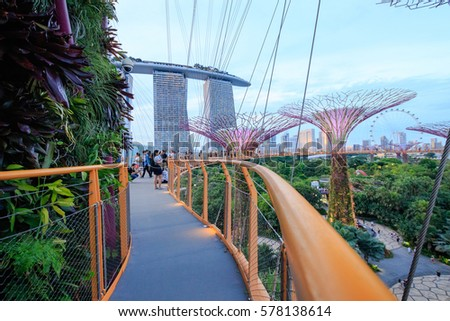 singapore october 30 view from the walkway on the supertree grove at gardens by - Garden By The Bay Mrt Station