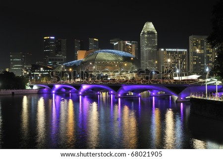 SINGAPORE - OCTOBER 30: View of Singapore financial district with Singapore River in the foreground. October 30, 2010 in Singapore. - stock photo