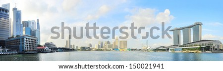 Singapore quayside in the sunshine day - stock photo