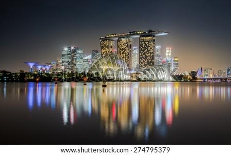 Singapore Reflection at night - stock photo