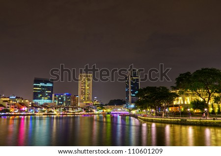Singapore River at night - stock photo