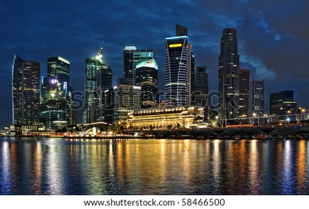 Singapore river at night