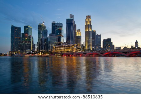 Singapore River Waterfront Skyline at Sunset from Esplanade - stock photo