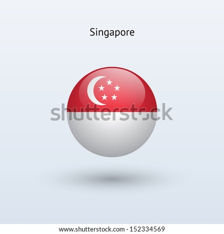 Singapore round flag on gray background. See also vector version. - stock photo