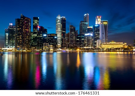 Singapore's skyline at night.  - stock photo