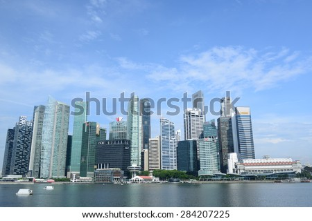 Singapore scenery on May 27, 2015  Beautiful scenery cityscape at Marina bay, not only building we also can see the Merlion .
