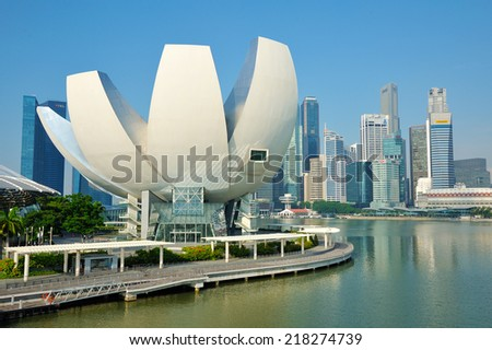 SINGAPORE - SEP 8: ArtScience Museum on Sep 8, 2014 in Singapore. It is one of the attractions at Marina Bay Sands. It has 21 gallery spaces with a total area of 6,000 square meters. - stock photo