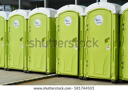 Singapore   Sep 19 : Row Of Green Color Portable Toilets On Sep, 2015 In