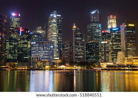 SINGAPORE-SEP 04: The downtown or city of Singapore in night time on September 04, 2014. The area around the Marina bay.