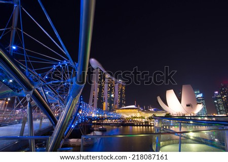 SINGAPORE - SEP 16: The Marina Bay in center city Sep 16, 2014 in Singapore. - stock photo