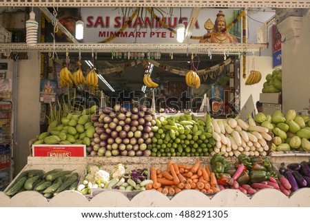 Singapore - 24 September, 2016:  Little India in Singapore is a thriving community known for markets selling fresh meat, fish, fruit and vegetables as well as Indian restaurants