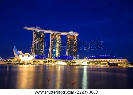 Singapore - 13 September, 2014: Singapore cityscape at night. - stock photo