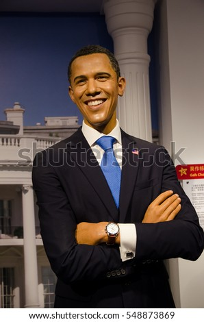 Singapore - September 15,2015 : The wax figure of Barack Obama in Madame Tussauds Singapore.