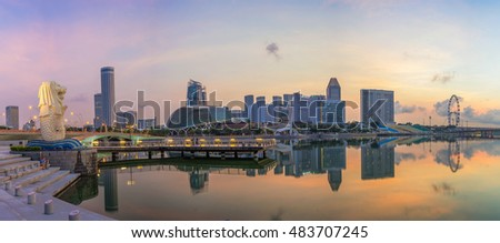 Singapore,Singapore  April 2016 : Aerial view of Singapore city skyline in sunrise or sunset at Marina Bay, Singapore