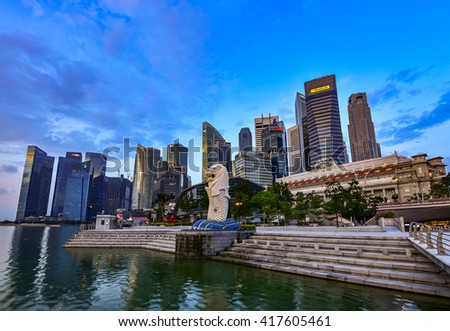 SINGAPORE ,SINGAPORE - APRIL 19,2016 : The Merlion is a traditional creature with a lion head and a body of a fish, seen as a symbol of Singapore. - stock photo