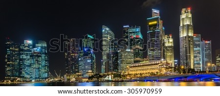 SINGAPORE, SINGAPORE Circa June 2014: the skyline of singapore seen from marina bay