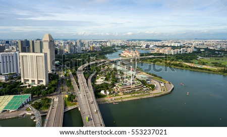 Singapore, Singapore - December 12, 2016 : Aerial view of Singapore Flyer at Marina Bay Singapore. It is a giant Ferris wheel.