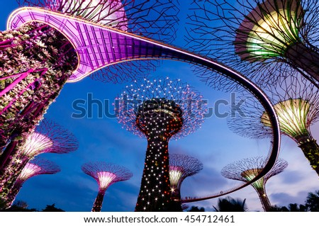 Singapore, Singapore - February 12, 2014: Night view of the Supertree Grove in the Graden by the Bay in Singapore.  - stock photo