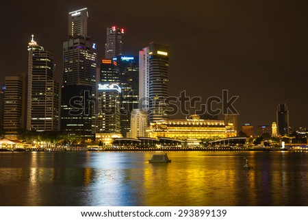 Singapore, Singapore - January 7, 2015: Aerial view of the city skyline in the Central Business District in Singapore. - stock photo