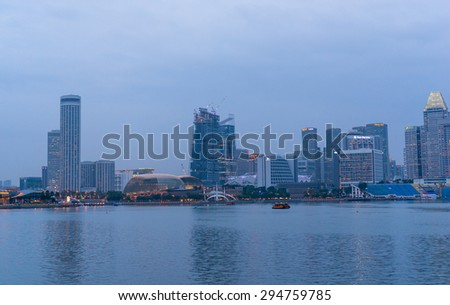 SINGAPORE, SINGAPORE - JANUARY 24: View of downtown Singapore city on Jan 24, 2015 in Singapore. Singapore is one of the world's major commercial hubs.