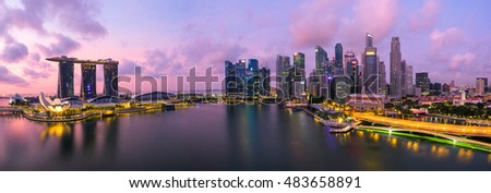 Singapore,Singapore  July 2016 : Aerial view of Singapore city skyline in sunrise or sunset at Marina Bay, Singapore