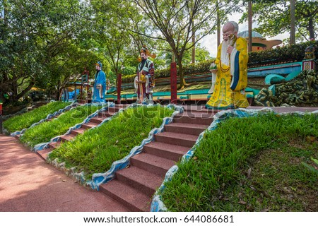 Singapore, Singapore - May 14, 2017 : The Sanxing so called Three Stars, who are Prosperity, Status and Longevity statue at Haw Par Villa is a theme park at Singapore.