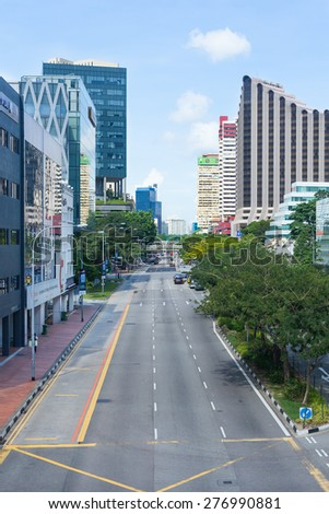 Singapore, Singapore - May 10, 2014: The urban city with road and building.