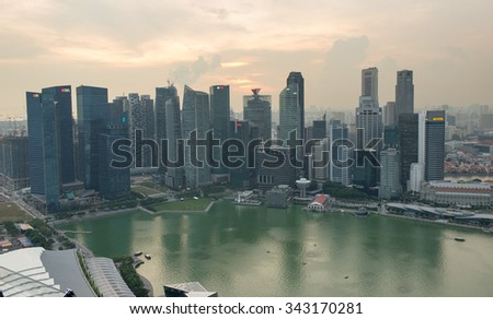 SINGAPORE, SINGAPORE - NOVEMBER 13: Marina Bay on November 13, 2015 in Singapore.