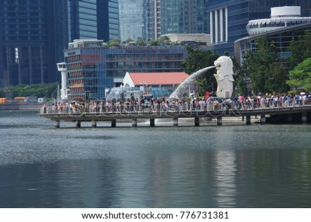 Singapore, Singapore - November 22, 2017: View of singapore merlion at Marina Bay is a bay located in the Central Area of Singapore.