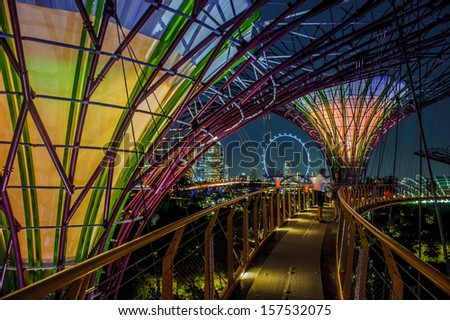 Singapore, Singapore - Sep 9 : Night view of  Supertree Grove at Gardens By The Bay in Singapore taken on September 9, 2013 - stock photo