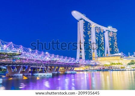 Singapore skyline - stock photo