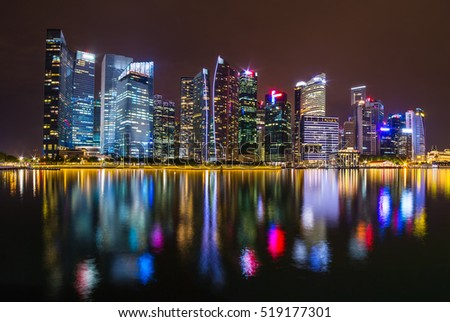 Singapore skyline and illuminated financial district night view