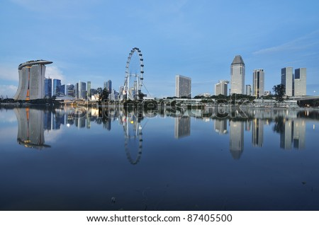 Singapore skyline and river - stock photo