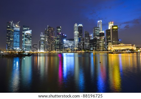 Singapore skyline and river - stock photo