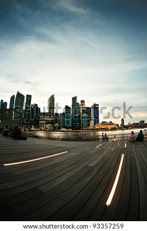 Singapore skyline and river